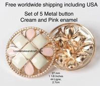 Pink enamel buttons,  Pink  metal buttons. Free worldwide shipping (2) (3) (4) (5) (6)